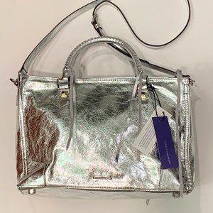 Rebecca Minkoff silver Regan satchel tote